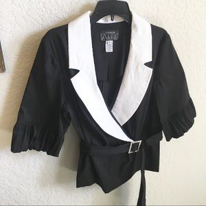 Evening Jacket Top Black and White